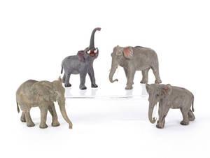 Four Austrian cold painted bronze elephants