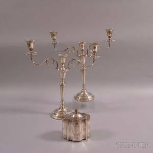 Pair of Silverplated Convertible Threelight Candelabra and a Silverplated Biscuit Box