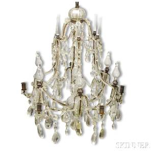 Louis XV Glass and Wrought Iron Sixlight Chandelier