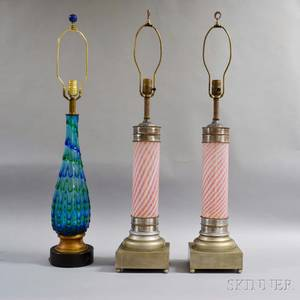 Three Art Glass Table Lamps