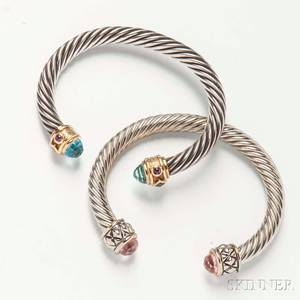 David Yurman Sterling Silver and 14kt Gold Ropetwist Bracelet