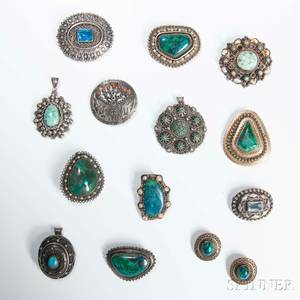 Twelve Israeli Silver and Hardstone Brooches and a Pair of Earrings