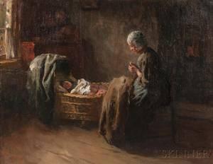 Albert Johan Jan Neuhuys Dutch 18441914 Watching Baby Sleep