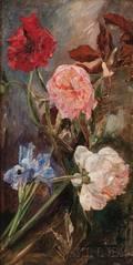 Gustav MagyarMannheimer Hungarian 18591937 Peonies and Irises