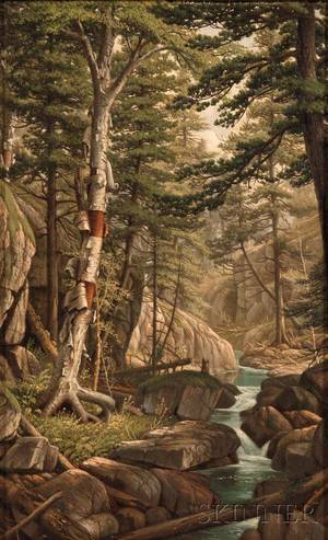 Attributed to Levi Wells Prentice American 18511935 White Birch Along a Stream