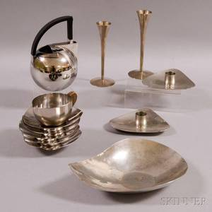 Group of Midcentury and Modern Stainless Steel Tableware Items