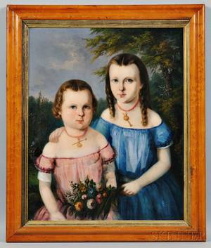 Carl Greiner American Mid19th Century Portrait of Two Girls