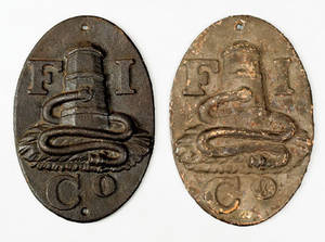 Two cast iron fire marks ca 1875