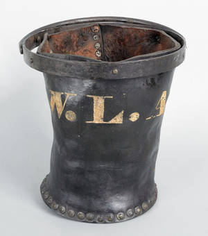 Lexington Kentucky leather and iron fire bucket ca 1820