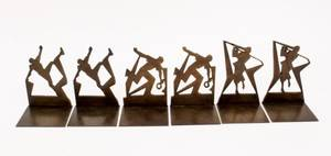 Three Sets of Athlete Motif Bronze Book Ends