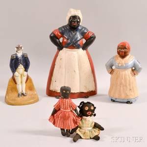 Three Cast Iron Doorstops and Two Black Dolls
