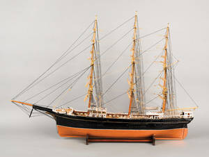 American canvas and rigged ship model of the merchant ship