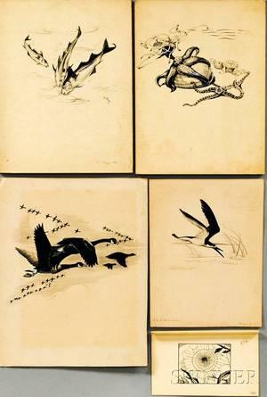 Else W von Roeder Bostelmann GermanAmerican 20th Century Five Illustrations Canada Geese in Flight Starfish Three Fish Shorebi