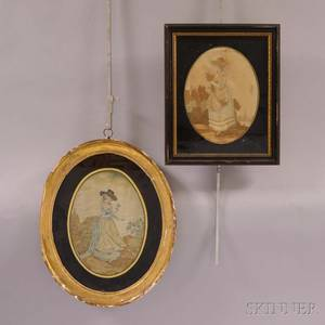 Two Framed Silk and Watercolor Needlework Pictures of Women