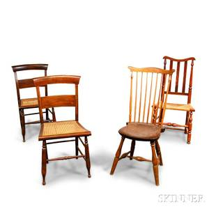 Pair of Grainpainted Chairs a Banisterback Chair and a Fanback Windsor Chair
