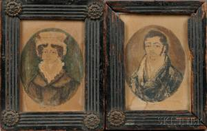 American School Possibly Southern United States c 1821 Portraits of a Husband and Wife