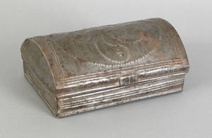 Pennsylvania tin wrigglework spice box 19th c