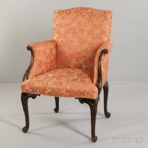 George IIIstyle Upholstered and Carved Mahogany Armchair