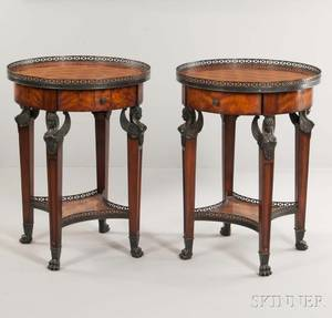 Pair of Theodore Alexander French Empirestyle Parquetry Gueridons