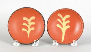 Pair of miniature redware pie plates 19th c