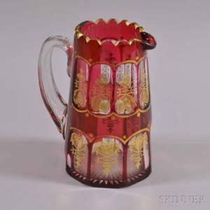 Cranberry Cuttoclear Glass Pitcher