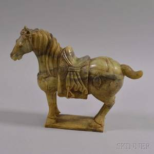 Hardstone Carving of a Caparisoned Horse