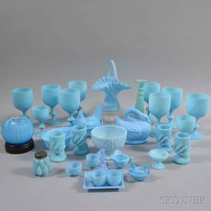 Large Group of Blue Opaque Glass