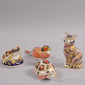 Four Royal Crown Derby Porcelain Animals