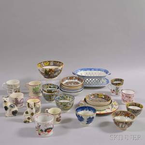 Group of Mostly English Transferdecorated Ceramic Items