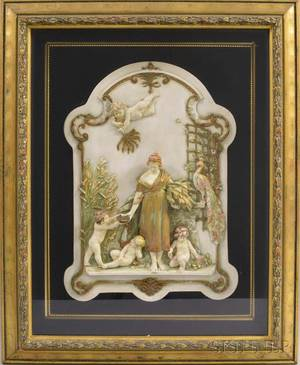 German Giltframed Porcelain Wall Plaque