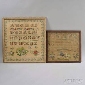 Two Framed Victorian Needlepoint Samplers