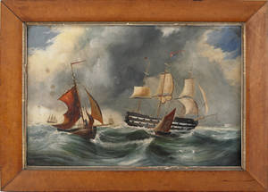 Oil on canvas ship painting 19th c