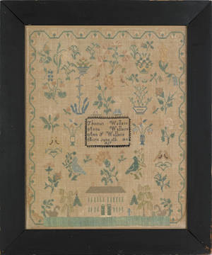 Burlington County New Jersey silk on linen needlework sampler for the Wallace family dated