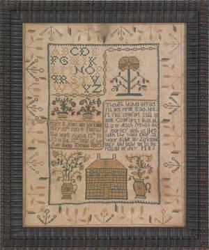 Trenton New Jersey silk on linen needlework sampler wrought by