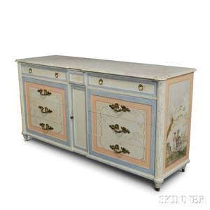 Maslow Freen Louis XVIstyle Paintdecorated Marbletop Dresser