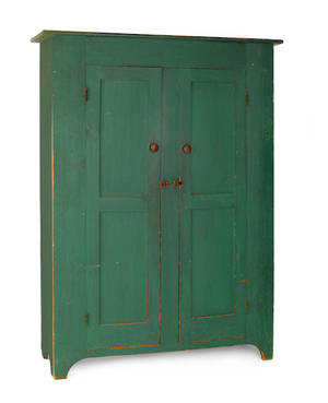 New Jersey painted pine wall cupboard ca 1830