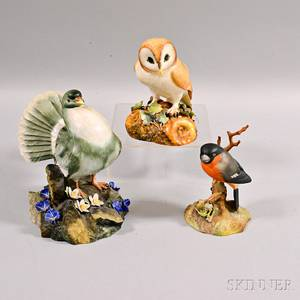 Three Royal Crown Derby Porcelain Bird Figures