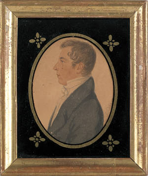 American miniature oval watercolor on paper profile portrait of a gentleman 19th c