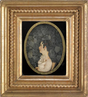 Philadelphia high relief wax profile portrait of a young girl seated on a chair 19th c