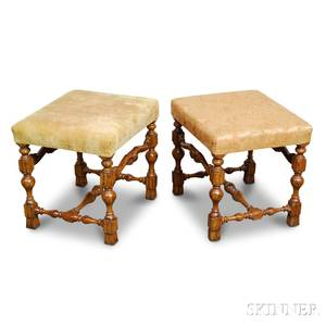 Pair of William and Marystyle Carved and Upholstered Fruitwood Stools