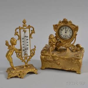 Art Nouveau Giltmetal Desk Clock and Thermometer