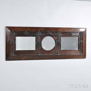 Art Nouveau Threepanel Mahogany Mirror