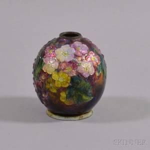French Enameled Copper Floraldecorated Vase