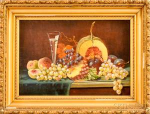 Framed Oil on Canvas Still Life with Fruit