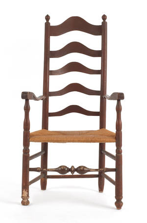 Delaware Valley maple ladderback armchair ca 1760