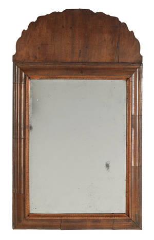 Queen Anne walnut veneer looking glass ca 1740