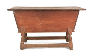 Pennsylvania walnut dough box on stand ca 1770
