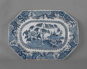 Massive English delft blue and white platter ca 1780
