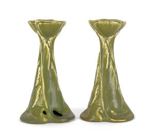 Pair of Rookwood pottery candlesticks