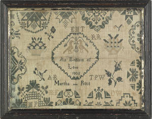 Two English Quaker silk on linen samplers dated